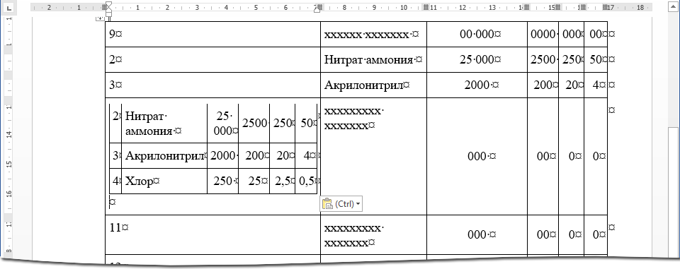 Таблица вложенная
