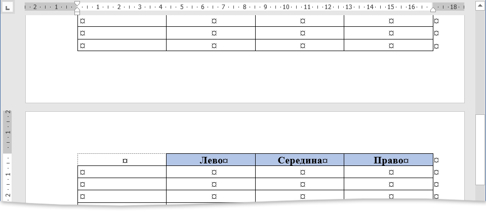 таблица по умолчанию