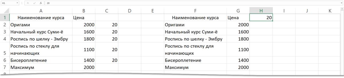 Адрес ячейки Excel